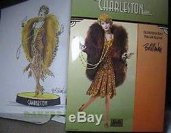 Charleston Barbie Porcelaine Bob Mackie Nrfb Édition Limitée Poupée Xb028 Avec Chargeur