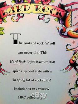 Hard Rock Cafe Poupée Barbie Rockabilly 2009 Gold Label Limited